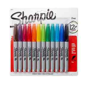 Sharpie Permanent Markers Fine Assorted 12 Ea pack Of 9
