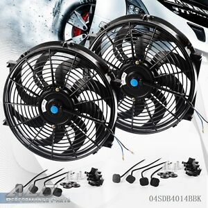 2 X Universal 14 Slim Pull Push Racing Electric Radiator Engine Cooling Fan