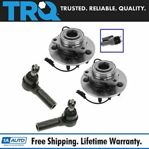 4 Piece Kit Outer Tie Rod End Wheel Hub Bearing For 09 11 Ram 1500 New