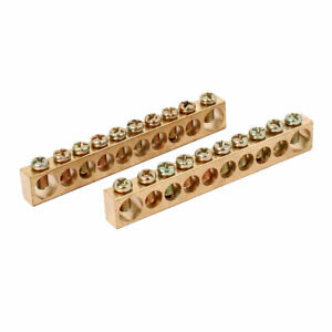 10 Holes Electric Distribution Cabinet Wire Terminal Ground Copper Bar 2pcs