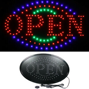 Large 23 X 14 Bright Led Neon Open Business Sign With Motion Animation Oval