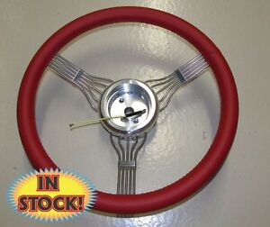 Banjo Rd 15 Banjo Style Steering Wheel With Adapter In Red Leather