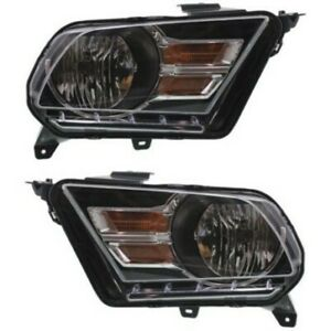 Headlight Set For 2010 2014 Ford Mustang Left And Right Chrome Housing 2pc
