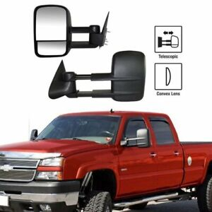 Left right For 99 07 Silverado Sierra Extend Telescoping Side Manual Tow Mirrors