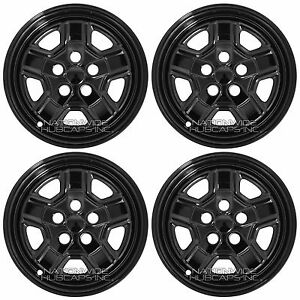 07 17 Jeep Patriot 16 Black Wheel Skins Hub Caps 5 Spoke Rim Covers Simulators