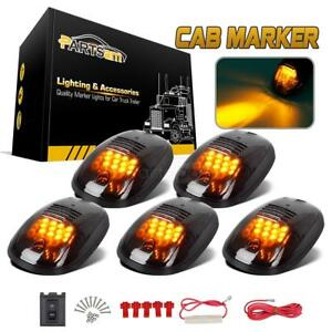5pcs Smoked Led Roof Top Truck Suv Cab Marker Running Clearance Light Set Kit