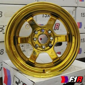 15x8 0 Offset 4x100 114 3 F1r F05 Shining Gold Chrome 3 Lip 6 Spoke Tuner Wheels