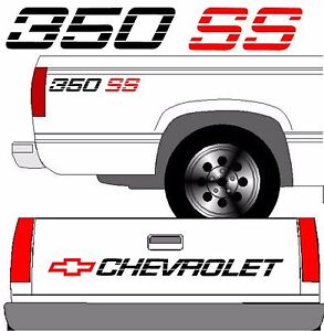 Chevrolet Ss Tailgate Truck Lettering 2 350 Ss Vehicle Vinyl Decal Black Set