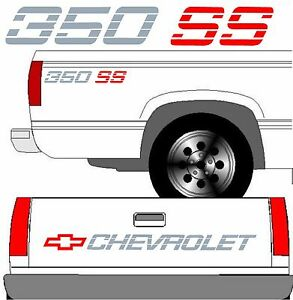 Chevrolet Ss Tailgate Truck Lettering 2 350 Ss Vehicle Vinyl Decal Set