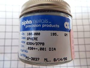 63 tin sn 37 Lead pb Solder Spheres 0 030 0 001 Od alpha Metals