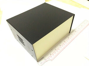 Black Diy Electronic Metal Project Box Instrument Enclosure Case 145 182 92mm
