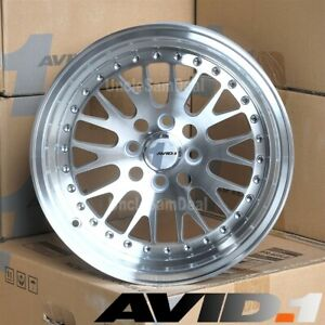 15 15x8 4x100 Et25 Avid 1 Av 12 Machine Silver Face Lip Mesh Tuner Wheels Of 4