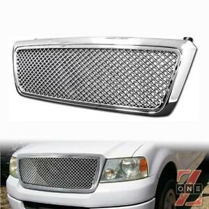 Ford F150 04 08 Bentley Mesh Front Hood Bumper Grille Kit Replacement Chrome