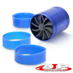3 Racing Air Intake Turbonator Jdm Dual Fan Gas Fuel Saver Kit Blue Honda