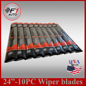 case Of 10 24 Front rear Premium Jhook Bracketless Windshield Wiper Blades