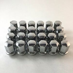 Set 24 1 78 Tall Lug Nuts Chrome 14mm X 1 5 22mm For Chevy gmc Trucks W60236