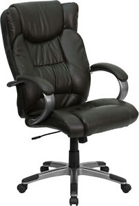 High Back Espresso Brown Leather Executive Swivel Office Chair Bt 9088 brn gg