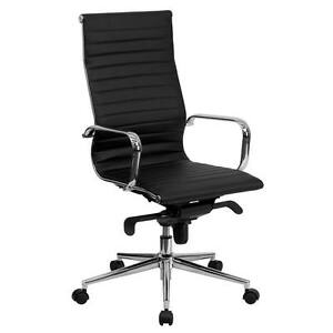 Black Ribbed Upholstered Leather Executive Swivel Office Chair Bt 9826h bk gg