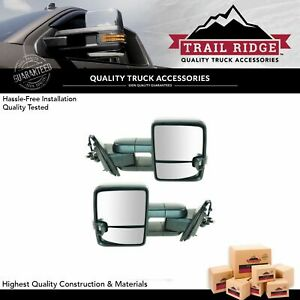 Trail Ridge Tow Mirror Power Fold Heat Led Signal Spotlight Textured Pair For Gm