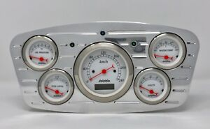 1933 1934 Ford Car 5 Gauge Dash Cluster Dolphin Metric White