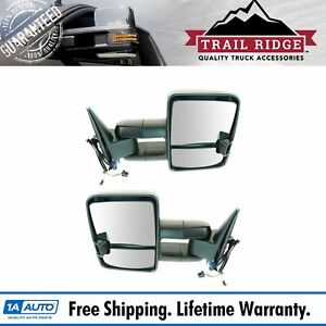 Trail Ridge Towing Mirror Power Heated Signal Marker Spotlight Black Pair For Gm
