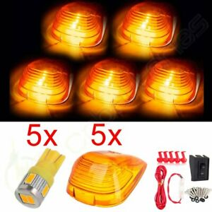 5x Amber Cab Clearance Lights W Warm White Led Roof Running Marker Lamps Kit