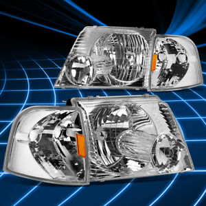 For 02 05 Ford Explorer U152 Oe Style Chrome Amber Corner Headlights Replacement
