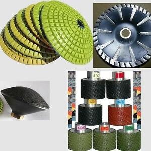 Diamond Convex Polishing Pad Blade Granite Concrete 2 Wet Polishing Drum 7 Pcs