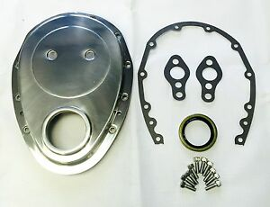 Small Block Chevy Polished Aluminum Timing Chain Cover Kit Sbc 327 350 383 400