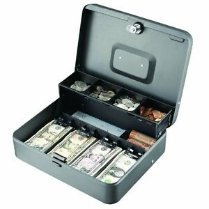 Steelmaster Tiered Tray Cash Box 4 Bill 5 Coin Steel Gray 2216194g2