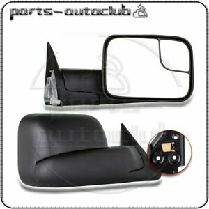 Pair For 94 01 Dodge Ram 1500 94 02 Ram 2500 3500 Pickup Manual Tow Mirrors