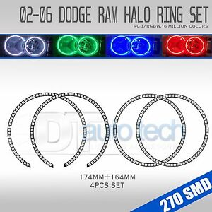 02 05 Ram Bluetooth Multi color Angel Eyes Led Rgb Headlight Halo Ring Set