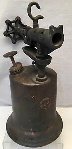 Vintage Antique American Style Hercules Brass Welders Blow Torch W Wood Handle