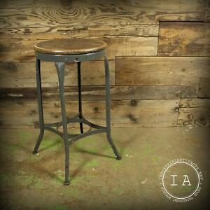 Vintage Industrial Grey Toledo Uhl Art Steel Metal Machinist Workbench Stool