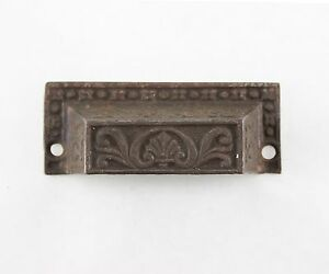 Eastlake Cast Iron Drawer Bin Pull Antique Vtg Architectural Hardware Dresser