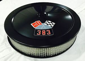 Black Chevrolet Air Cleaner 14 Round 4 Bbl White Filter 383 Decal New