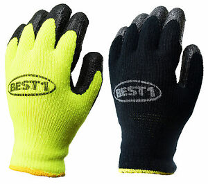 Best1 Safety Winter Lining Knit Latex Dip Work Gloves crinkle Finished whvlm bk