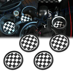 2pcs 72mm Black Checkered Style Anti slip Cup Holders Coasters For Mini Cooper
