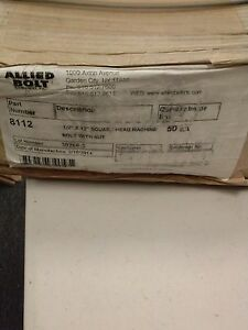 Allied Bolt 8112 1 2 Inch X 12 Inch Square Head Machine Bolt With Nut 50 Pk