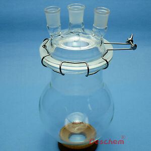 2000ml 24 29 Three Necks Glass Reactor 2l Lab Reaction Flask With Lid And Clamp