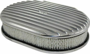 12 Full Finned Polished Aluminum Oval Air Cleaner W Filter Chevy Ford V8