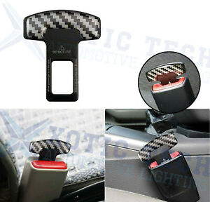 Carbon Fiber Safety Seat Belt Buckle Insert Alarm Stopper Eliminator Clip Black