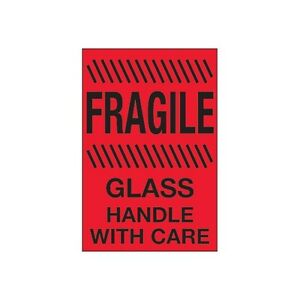 Tape Logic Labels Fragile Glass With Care 4x6 Fluorescent Red 500 Per