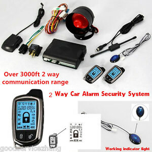 2 way Pager Car auto Security Alarm System Keyless Entry Lcd Display Remote