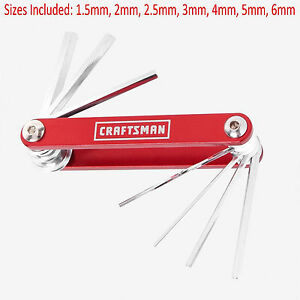 New Craftsman Metric 7 Piece Red 7 In 1 Fold Up Hex Keys Allen Wrenches Set