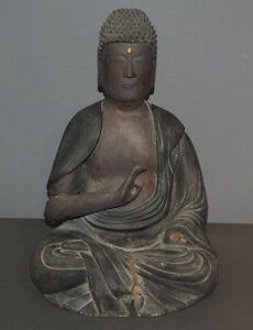 Japanese Antique Wood Amida Buddha