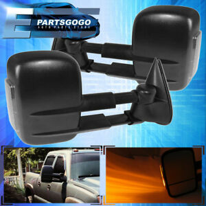 For 03 06 Chevy Silverado 1500 2500 Extendable Power Heated Led Tow Mirrors