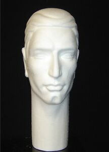 Four 4 6264x 16 h Stylized Male Mannequin Head Forms white By Polly Products