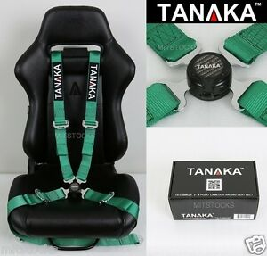 Tanaka Universal Green 4 Point Camlock Quick Release Racing Seat Belt Harness 2