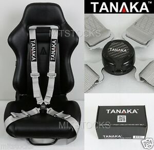 Tanaka Universal Silver 4 Point Camlock Quick Release Racing Seat Belt Harness